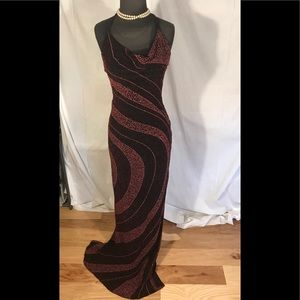 Alexia Admor knit glitter and seed bead gown. S